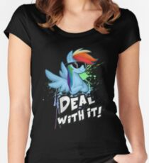 My Little Pony - MLP - Rainbow Dash - Deal With It Women's Fitted Scoop T-Shirt