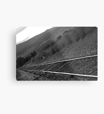 Railroad Tracks Down The Line Black and White Metal Print