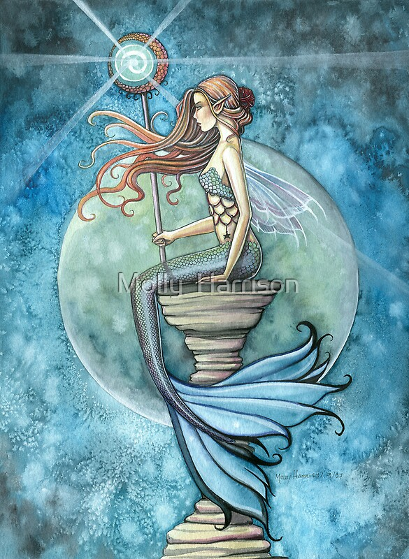 quotquotjade moonquot mermaid art by molly harrisonquot by molly