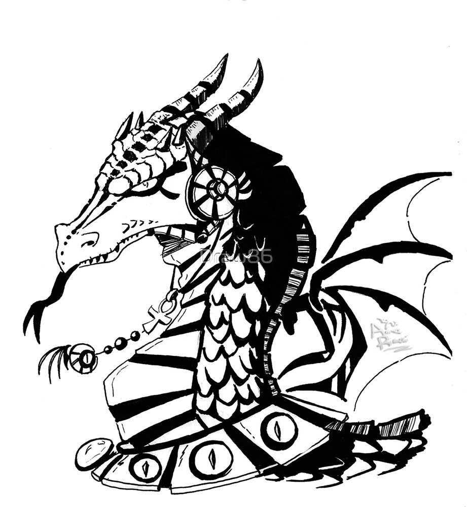 Dragon black and white by Draw86