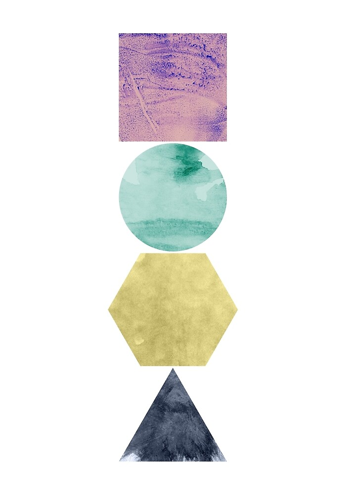 Geometric Shapes - Square, Triangle, Hexagon, Circle by erhicodesign