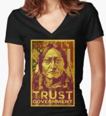 Trust The Government Sitting Bull Women's Fitted V-Neck T-Shirt