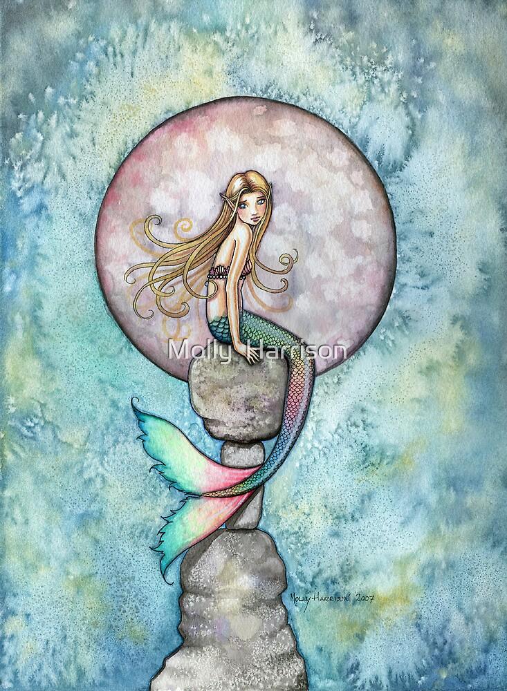 """""""Sinking Moon"""" Mermaid Art by Molly Harrison by Molly  Harrison"""