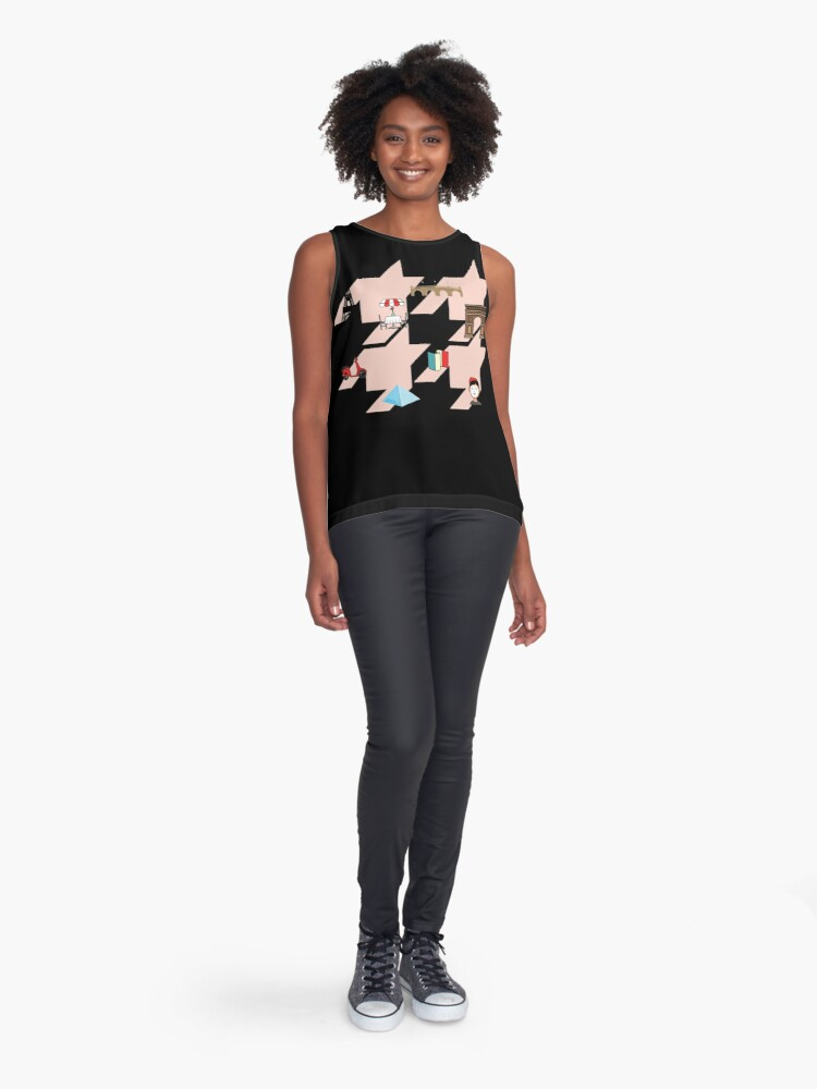 Alternate view of Houndstooth pattern with French Parisian symbols Sleeveless Top