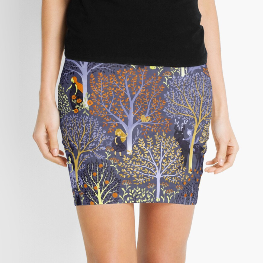 Magical Forest in blue Mini Skirt