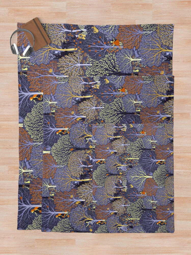 Alternate view of Magical Forest in blue Throw Blanket