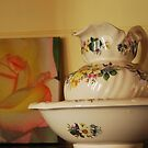 Jug, bowl w/ Peace Rose by Julie Sherlock
