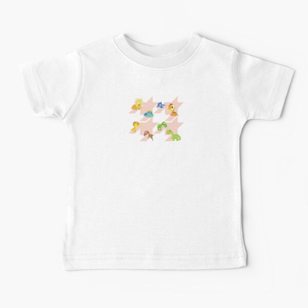 Houndstooth pattern with cute dinos Baby T-Shirt