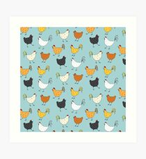 Chicken Pattern Art Print