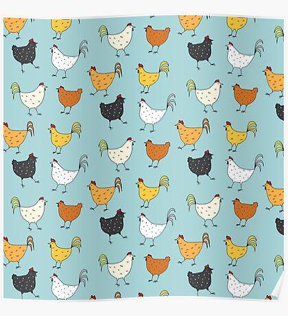 Chicken Pattern Poster