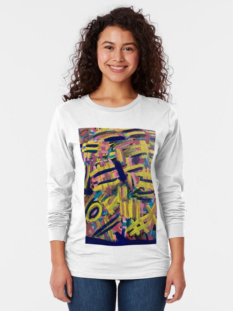 Alternate view of Chaos of Abstract Geometric Lines Long Sleeve T-Shirt