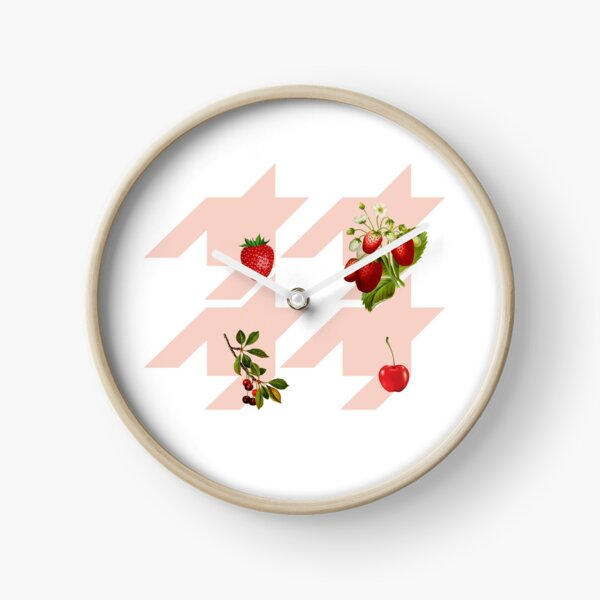 Houndstooth pattern with berries and cherries Clock
