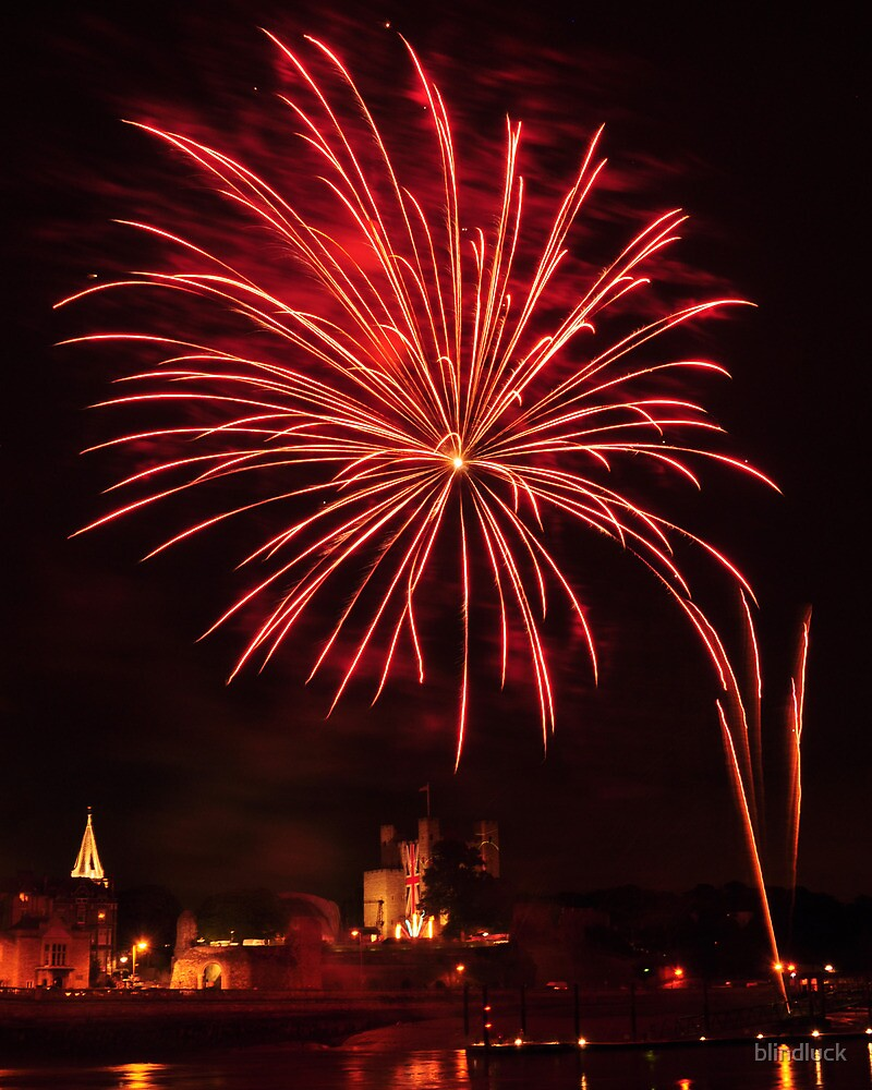 Rochester castle by firework by blindluck