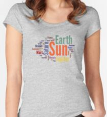 Solar System Word Cloud Women's Fitted Scoop T-Shirt