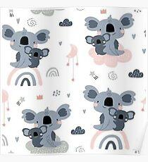 Cute Baby Koala Pattern Poster