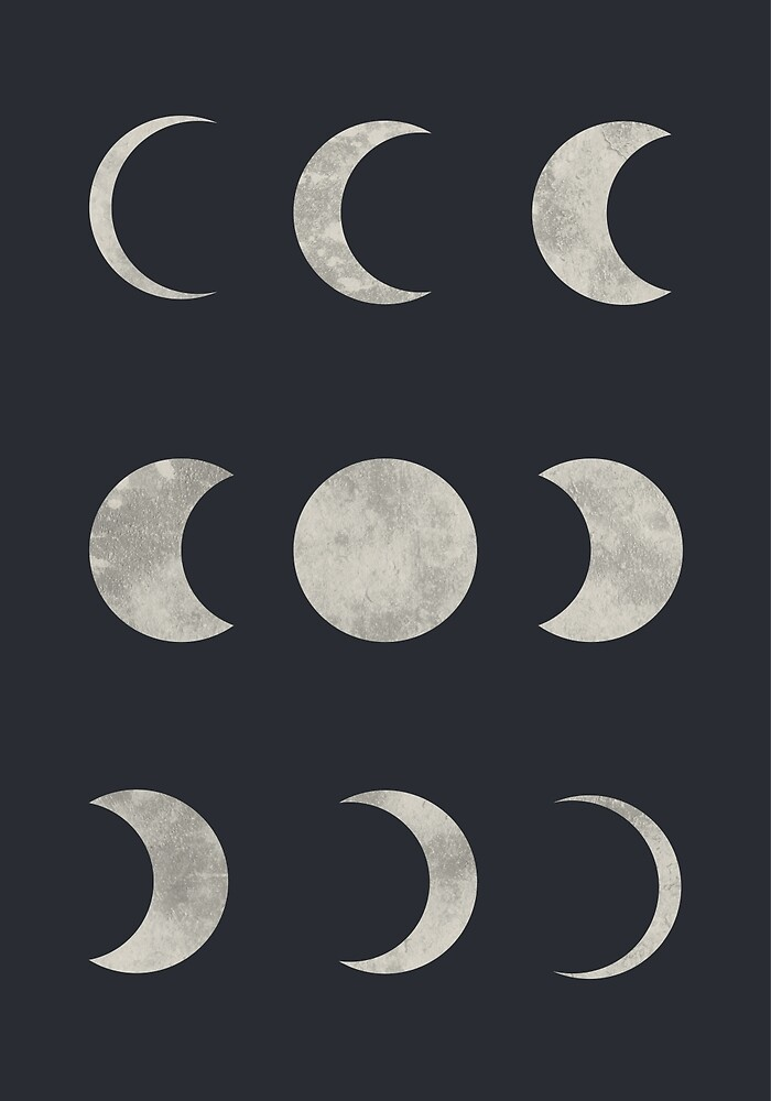 Moon Art, Moon Phases, Space Art, Moon Phases Wall Art by erhicodesign