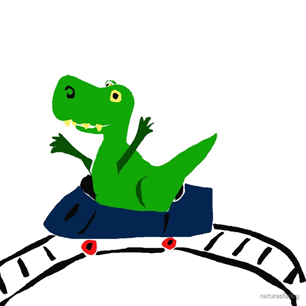 Funky T-Rex Dinosaur Riding on Roller Coaster by naturesfancy