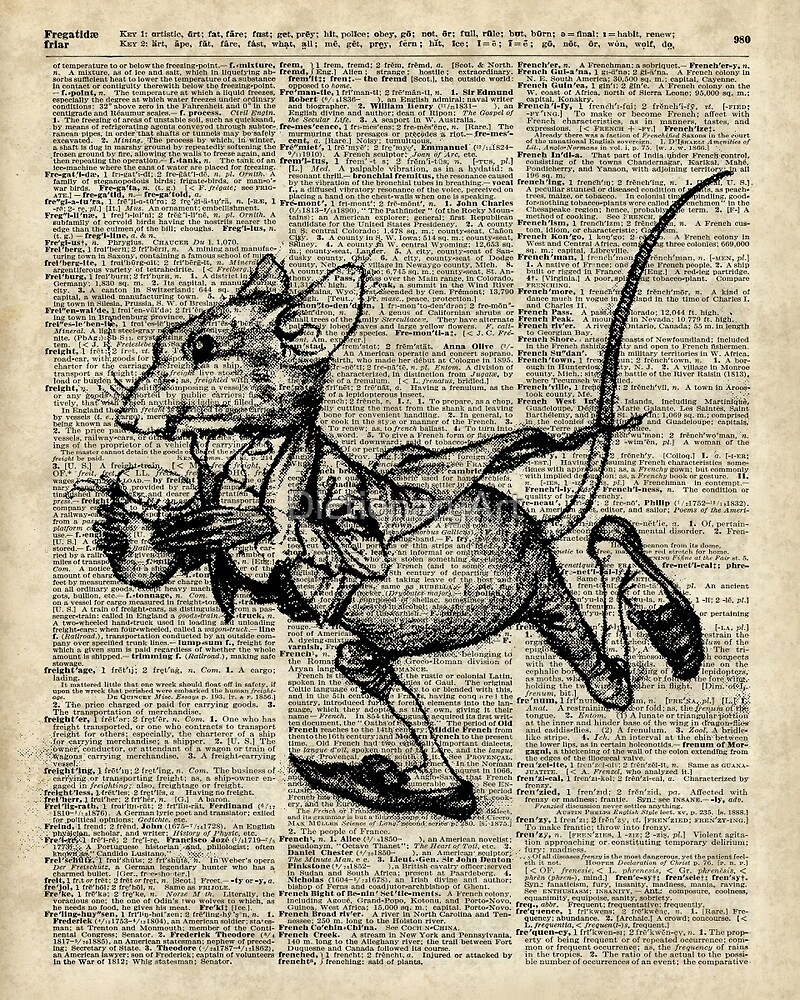 Running Mouse Over Old Book Page by DictionaryArt