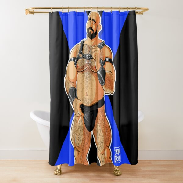 JIM LIKES HARNESS - BLUE X Shower Curtain