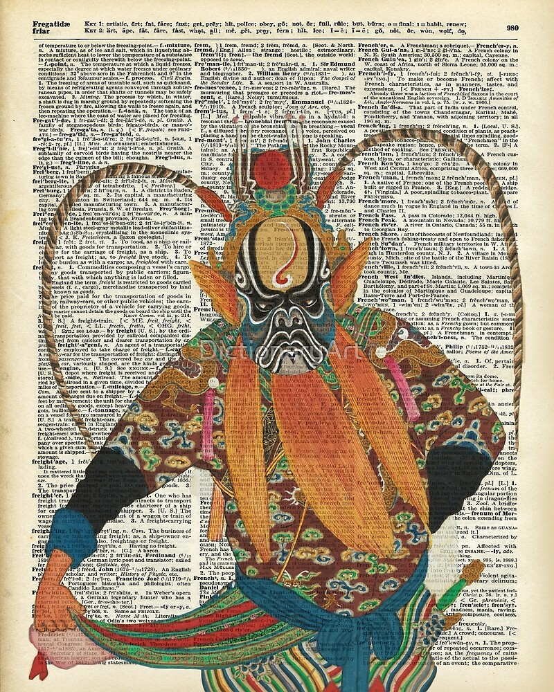 Pekin Opera Chinese costume Over a Old Dictionary Page by DictionaryArt