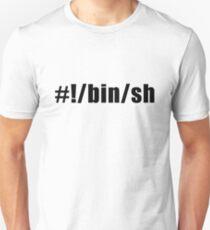 Hashbang /bin/sh - Design for Command Line Hackers Black Font T-Shirt