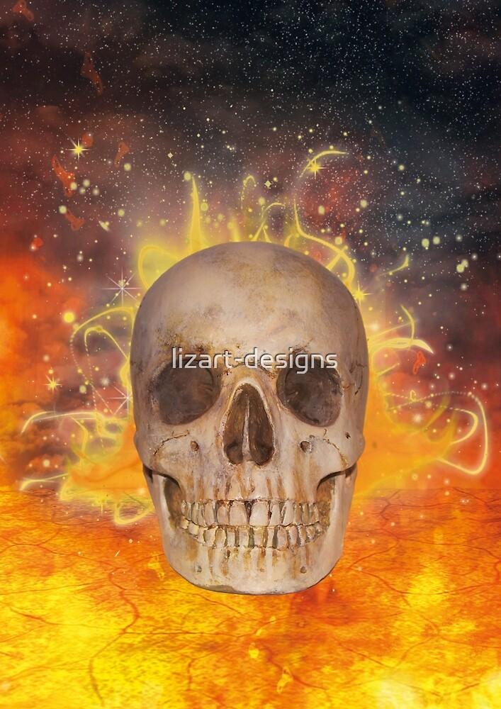 Skull on Fire by lizart-designs