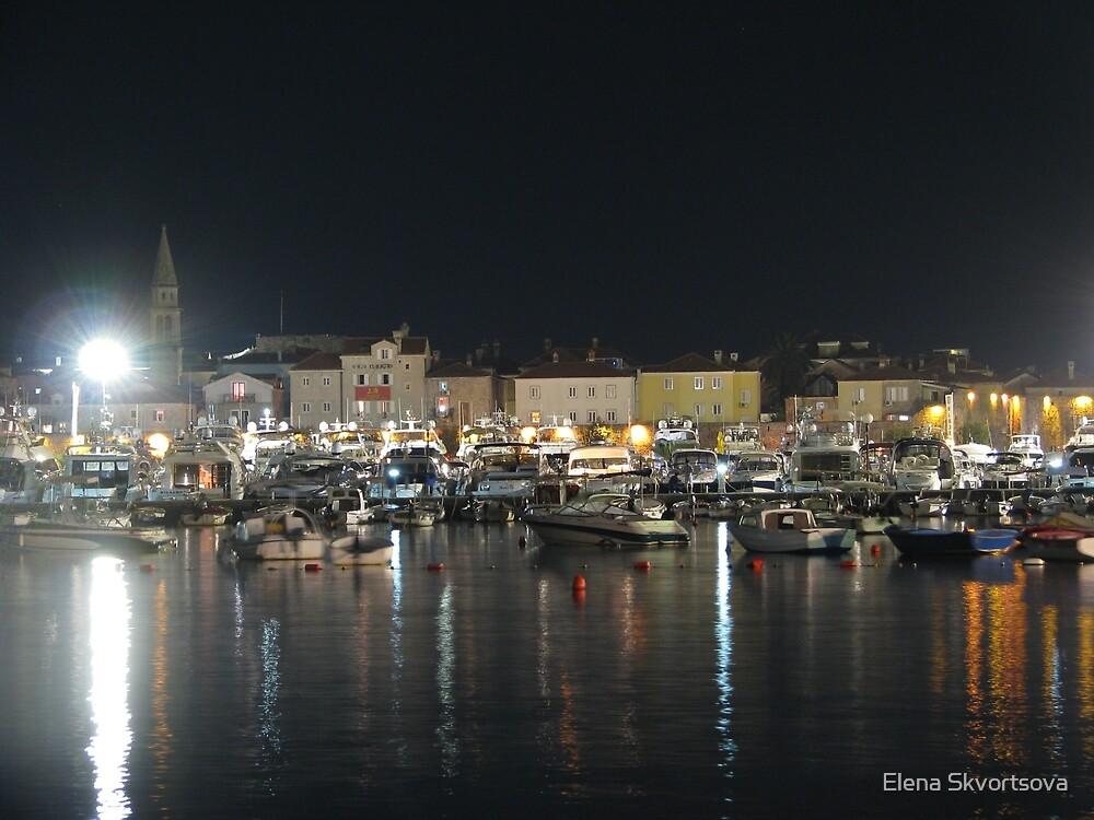 Night in the harbour by Elena Skvortsova