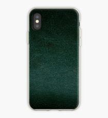 Dunkelgrüner lederner Beschaffenheitszusammenfassung iPhone-Hülle & Cover