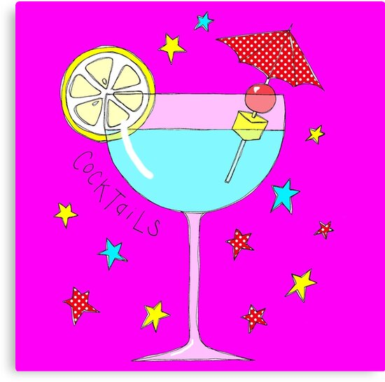 Pretty cocktail on bright pink by Wendy Massey