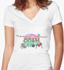 Cute Caravan/Trailer Women's Fitted V-Neck T-Shirt
