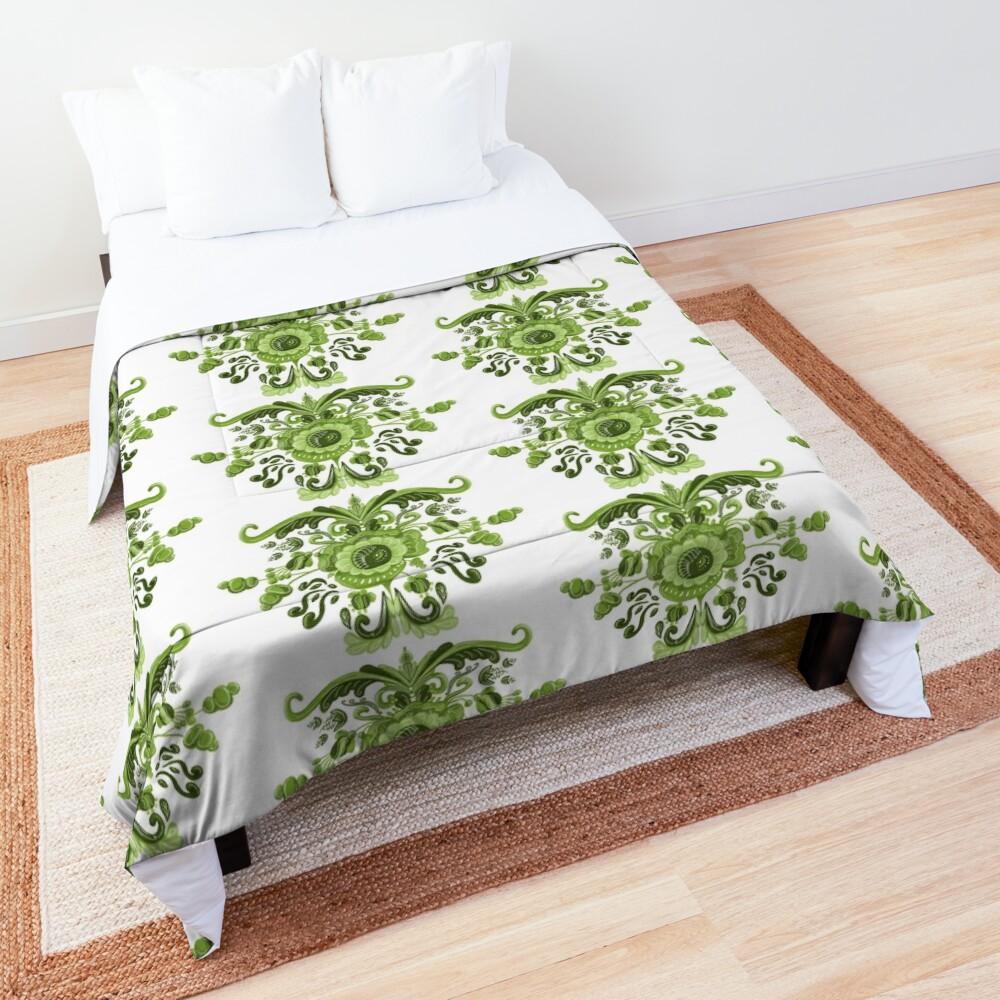 Green Flowers Comforter