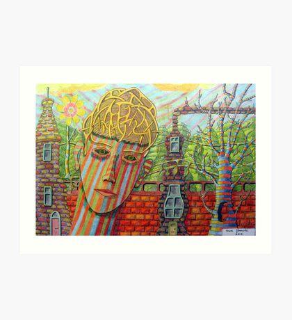 342 - FANTASY FACE - DAVE EDWARDS - COLOURED PENCILS - 2011 Art Print