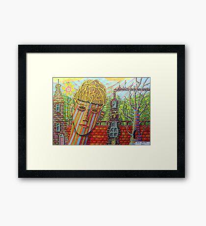 342 - FANTASY FACE - DAVE EDWARDS - COLOURED PENCILS - 2011 Framed Print