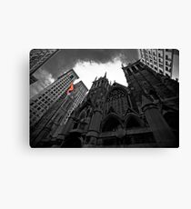 First Presbyterian Church: Black White Version with USA Color Flag Canvas Print