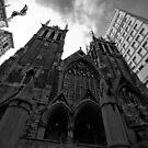 First Presbyterian Church, Front View: Black White Version by creativeburn