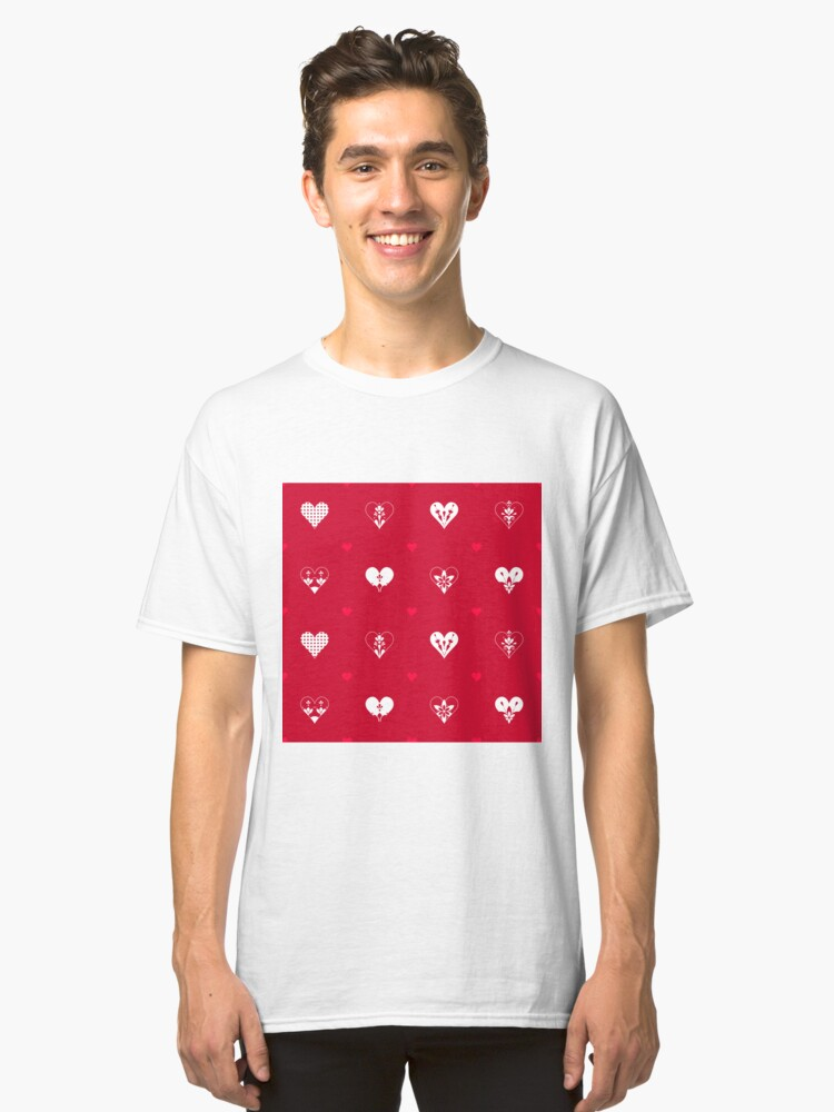 Alternate view of Valentines Day Hearts- Red Classic T-Shirt