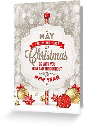 Joy and Peace Christmas Card by Sol Noir Studios