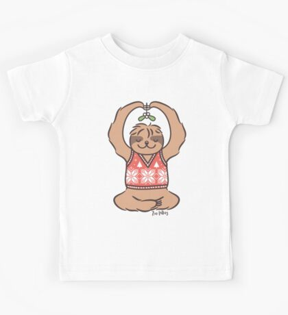 Christmas Kiss Sloth with Mistletoe Kids Clothes