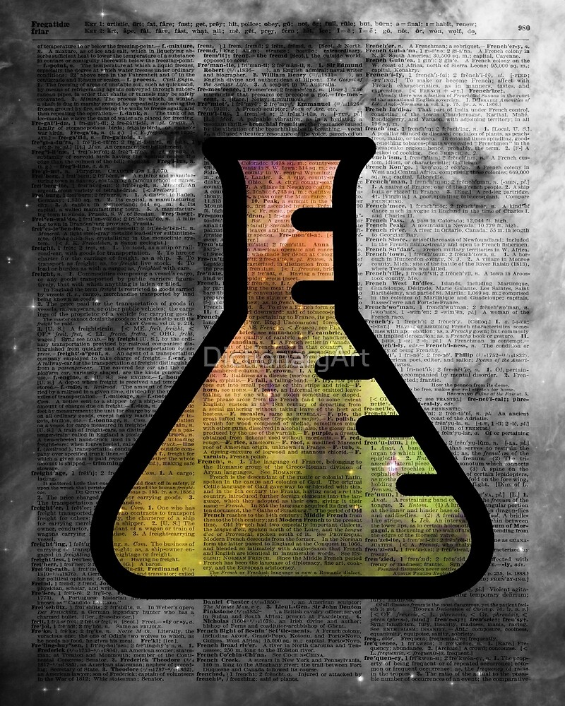 Magic Alchemy Vial Chemistry over  Dictionary Art by DictionaryArt