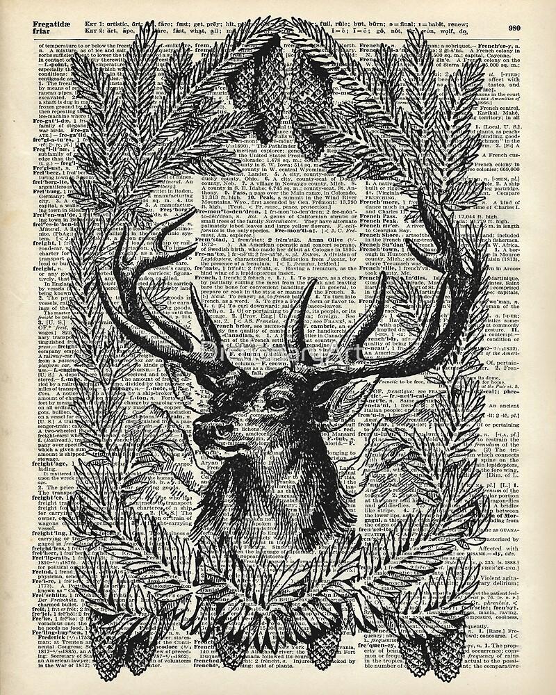 Christmas Stag,xmas gift,reindeer decor by DictionaryArt