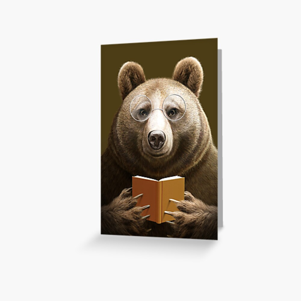 BEAR READING A BOOK Greeting Card