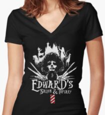 Edward's Salon and Topiary - Edward Scissorhands Women's Fitted V-Neck T-Shirt