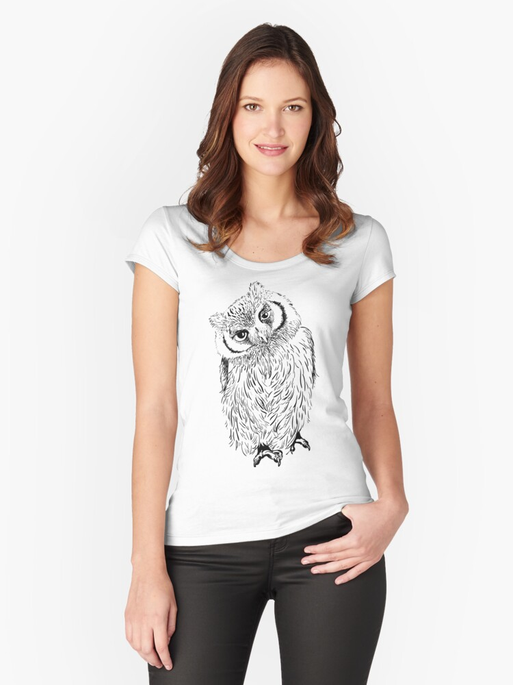 Owl hand drawn Women's Fitted Scoop T-Shirt Front
