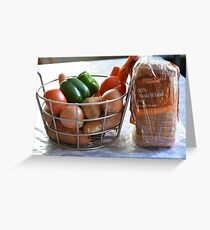 Vegetables and whole wheat bread. Greeting Card