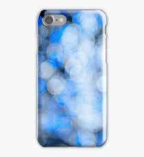 Blue white sparkles and circles bokeh abstract  iPhone Case/Skin