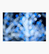 Blue white sparkles and circles bokeh abstract  Photographic Print