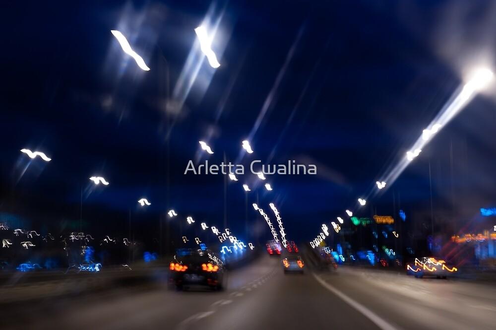 Cars motion street night lights by Arletta Cwalina