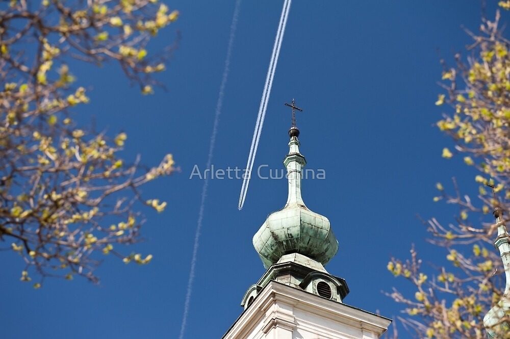 Aeroplane contrails and cross by Arletta Cwalina