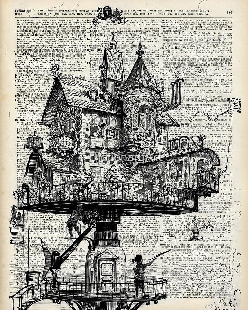 Steampunk house Howl Dictionary Art by DictionaryArt