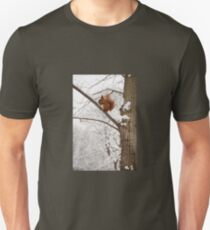 Squirrel sitting on twig in snow T-Shirt